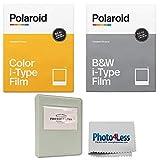 Polaroid Color Film for I-Type (8 Exposures) + Polaroid Black & White i-Type Instant Film (8 Exposures) + Grey Album - Holds 32 Photos