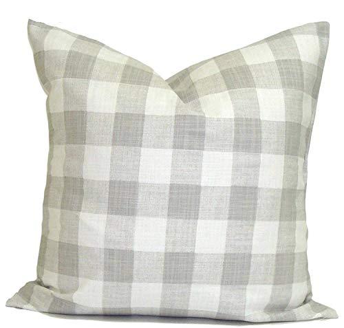 nonbrand 40 x 40cm FARMHOUSE PILLOWS Decorative Pillow Cover Check Throw Pillow Buffalo Check Pillow Gray French Farmhouse Decor Grey Cushion