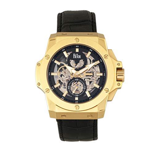 Reign Commodus REIRN4004 - Reloj automático con correa de piel, color dorado y negro, talla única
