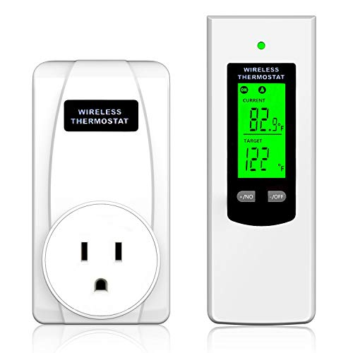 Hycency Programmable Wireless Plug in Thermostat Outlet, Electric Thermostat Controlled Outlet with Built-in Temperature Sensor Remote Control, Perfect for Coolers and Heaters with Plugs. 15 Amp