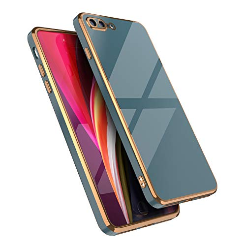 EYZUTAK Funda para iPhone 7 Plus iPhone8 Plus, silicona suave, carcasa delgada galvanizada borde recto, carcasa protectora a prueba de golpes, color gris