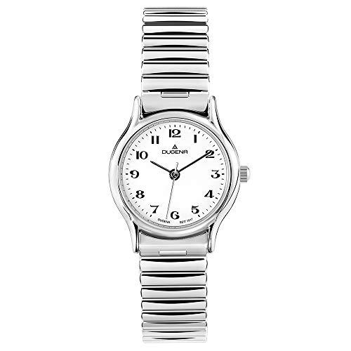 DUGENA Damen-Armbanduhr 4460534 Vintage Comfort, Quarz, weißes Zifferblatt, Edelstahlgehäuse, Mineralglas, Edelstahl-Zugband, 3 bar