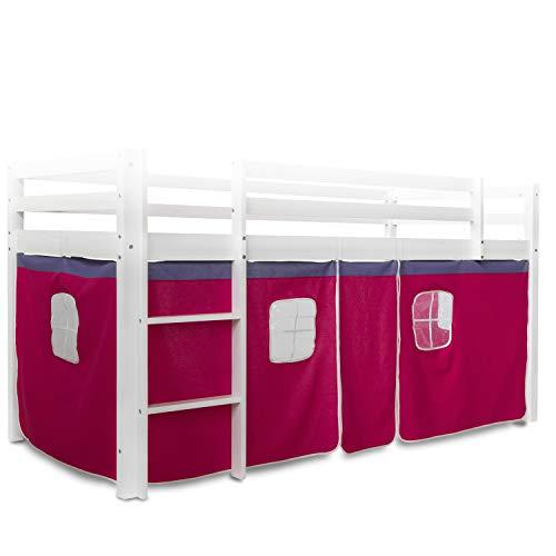 Homestyle4u 1519, Bettumrandung Bettvorhang für Hochbett, Vorhang Stoff Baumwolle, Pink