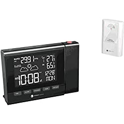 Ambient Weather RC-8401 Projection Clock with Forecast, Barometer, Atomic Clock and Indoor/Outdoor Temperature Color Changing Display
