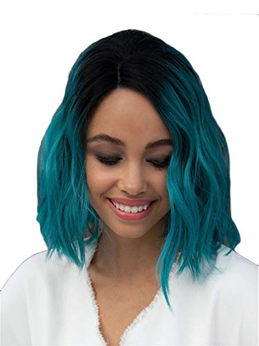 Curly Wavy Bob Wig Short Ombre Bob Wavy Heat Resistant Synthetic Soft Full Hair Wig (Green)