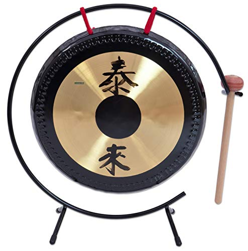 Betzold Musik 84316 - Tisch-Gong mit Metall-Stativ - Oberfläche: 25 cm - inkl. Schlägel