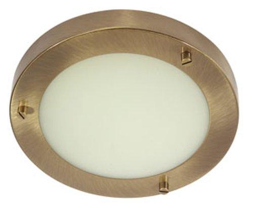 Rondo - Lampada da soffitto, da bagno, attacco G9, finitura in ottone dall'effetto anticato