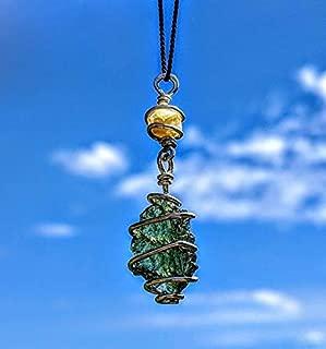 MOLDAVITE & RHODIZITE Necklace Wire Wrap 925 Silver on a 19