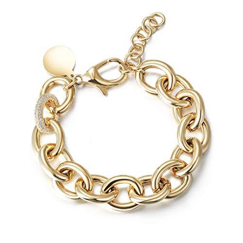 Wistic Jewelry Damen Armband mit Funkeln Kristall Armreif Verstellbar Geburtstag Geschenk (Gold 1)