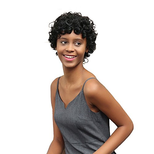 Perruques Afro Femme Africaine Cheveux Courte Curly SynthéTique Lace Frontal Mode Postiches (Noir)