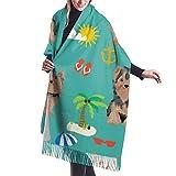 Bufanda para mujer de Otoño Invierno Yorkshire Terrier Verano Playa Diseño Clásico Bufanda Caliente Suave Grande Manta Envoltura Chal Bufandas