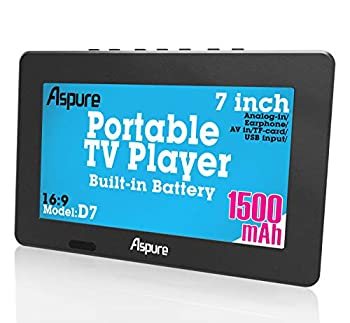 LEADSTAR 7 Inch Portable Small Digital ATSC TFT HD Screen Freeview LED TV for Car,Caravan,Camping,Outdoor or Kitchen.Built-in Battery Television/Monitor with FM Multimedia Player Support USB