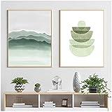 Murales 50x70cm 2 Piezas SIN Marco Verde Formas geométricas abstractas Arte de la Pared Impresiones Póster Verde Menta Lienzo Cuadros de Pintura para la Sala de Estar Decoración del hogar