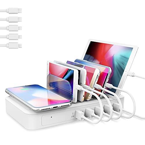 TechDot - Estación de carga con 5 puertos y cargador inalámbrico inductivo, soporte de carga, cargador USB para smartphone tablet, 5 cables mini incluidos (tipo 2)