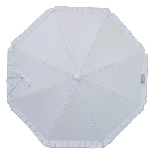 Sombrilla para carrito de bebé con protección solar Anti-UV CERTIFICADA + Flexo Universal. Varios colores disponibles. Fabricada en España (Blanco)