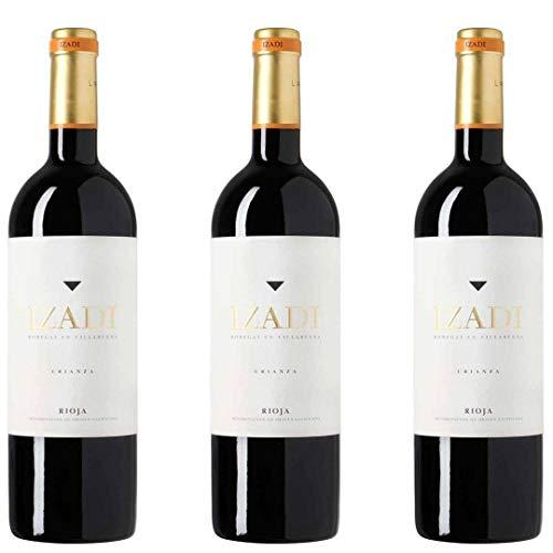 Izadi Vino Tinto Crianza - 3 botellas x 750ml - total: 2250 ml ✅