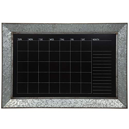 Everly Hart Collection Rustic Galvanized Metal Framed Mount Chalkboard Calendar Decor or Wall Art