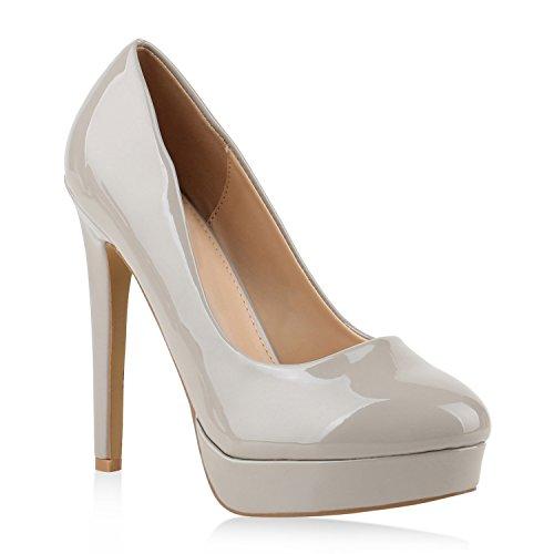 Damen Schuhe Pumps High Heels Plateaupumps Lack Stiletto Elegante 145636 Hellgrau 36 Flandell
