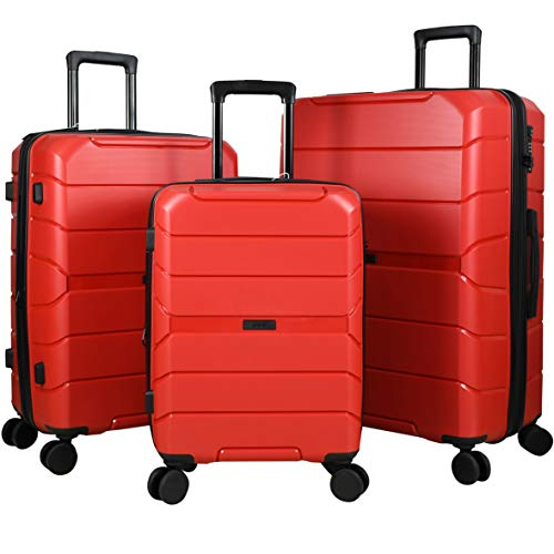 Travel Crescent PP Expandable Suitcases Hardside Luggage with Spinner Wheels, Red, 3-Piece Set (20/24/28)