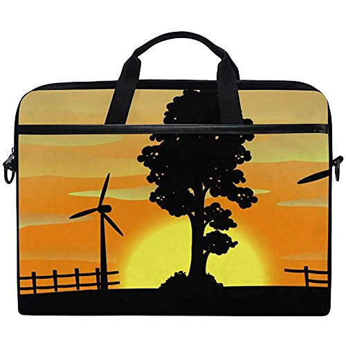 Wind Turbines Tree Sunset Silhouette Multifunctional Laptop Briefcase Tablet Bag Tote Computer Case Handbag Pouch for Most Person