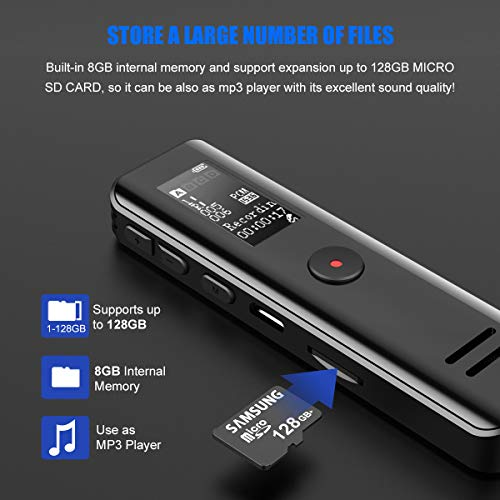 Digital Voice Recorder, USB Audio Dictaphone 8GB Rechargeable MP3 Player Support 1-128GB Expansion Music Dictation Machine Microphone Professional Pocket Recording Mac Compatible Lectures Meetings