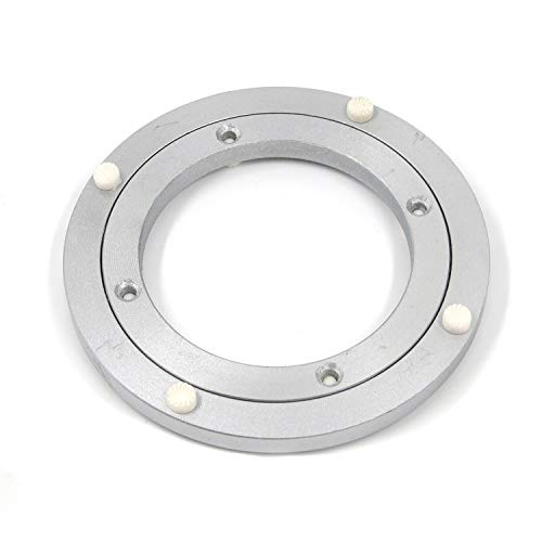 Geesatis Metal Lazy Susan Hardware 1 PCS Rotating Turntable Bearing Round Swivel Plate, Table Smooth Swivel Plate for Kitchen Dining Table Tabletop Show Displays, Heavy Loads, Silver, 5.5 inch