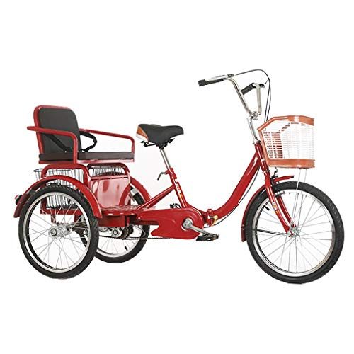 OFFA 3 Wheel Bikes Adult Tricycle Seniors, Trike 20 Inch Three-Wheeled Cruise Bicycles Bike with Large Size Basket for Recreation, Shopping, Exercise Men's Women's Bike (Color : A, Size : 20 Inch)