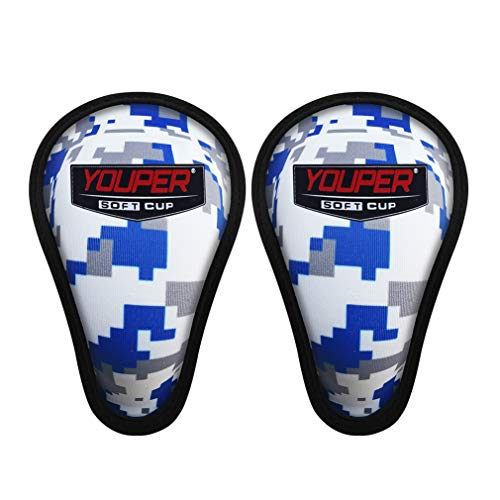 Youper Boys Youth Soft Foam Protective Athletic Cup (Ages 7-12), Kids Sports Cup for Baseball, Football, Lacrosse, Hockey, MMA - 2 Pack (Ocean Camo)
