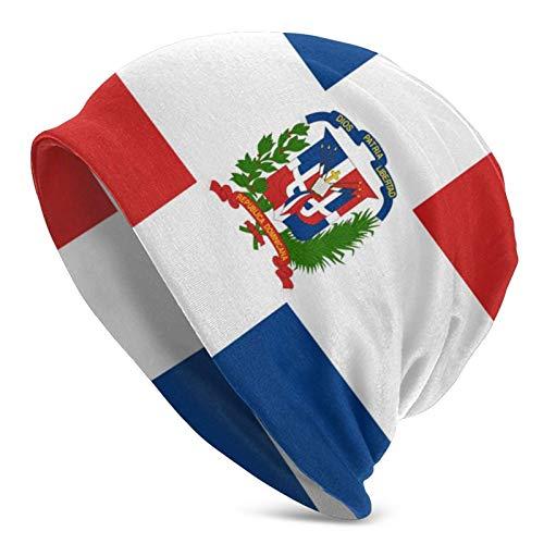FLDONG Gorro de punto unisex con la bandera de la República Dominicana para adultos, estilo informal, para hombres y mujeres