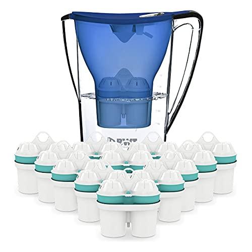 BWT Wasserfilter Penguin 2.7 l blau inkl. 13 Filterkartuschen | Immun Boost Premium mit Magnesium & Zink | Jahres-Vorrat an Zink-Kartuschen