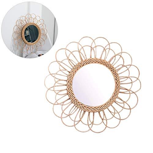 Ronde decoratieve wandspiegel - hangende spiegel zonnebloem circular muur spiegel - Boho Nordic wikkelaar dressing make-up spiegel voor hal badkamer ingang