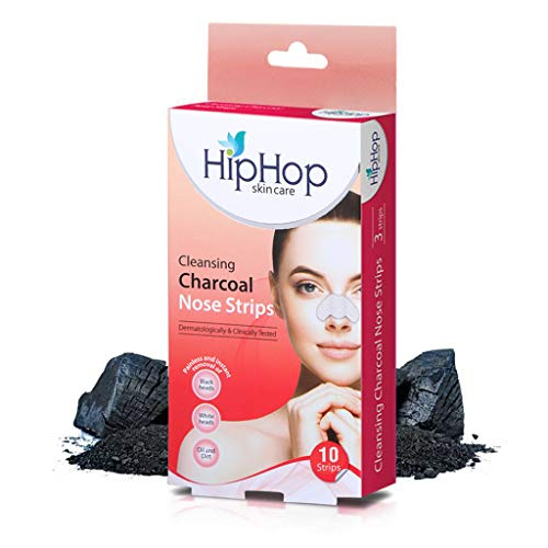 HipHop skin care Cleansing Charcoal Nose Strips for Women - Blackhead Remover on Oily Skin, with Instant Blackhead Removal and Pore Unclogging - 10 Strips