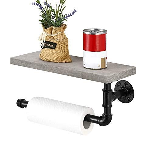 Soporte de papel higiénico industrial, soporte para toallas de pared con estante de madera, granja de mano rollo de papel colgador para ...