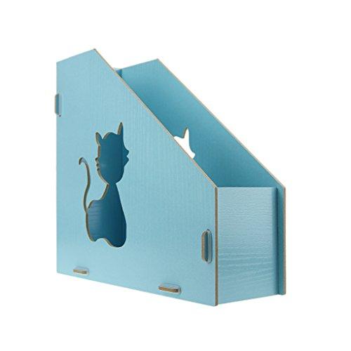 Stehsammler, Zeitschriftensammler, Stehorder, Zeitschriftensammler, Zeitschriftenbox aus Holz DIN A4×2 Pink/Blau/Braun