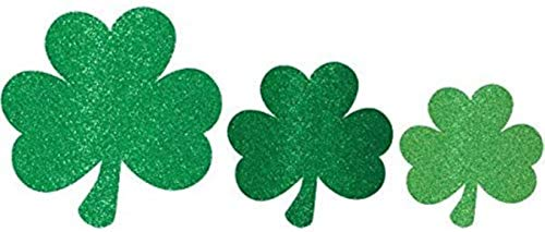 Amscan St Patrick's Day Mini Glittered Shamrock Assorted Cutouts, Multisizes, Green