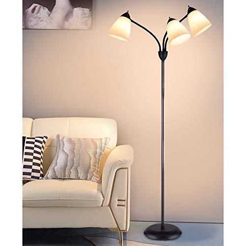 DLLT Modern Reading Floor Lamp,3-Light with Adjustable Flexible Gooseneck Tree Standing Lamp for Living Room, Bedroom, Study Room, Office -Black Metal White Shades, E26 Base