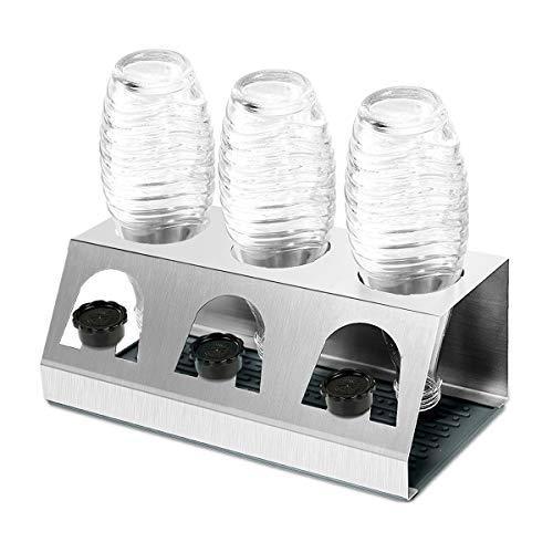 KING DO WAY Abtropfhalter Abtropfständer aus Edelstahl für Crystal und Emil Flaschen, Streambrush mit Deckelhalter Flaschenständer Herausnehmbare Abtropfschale für Glasflaschen