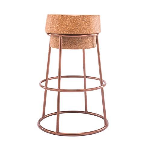 BLWX LY -Taburete de Bar Taburete de Bar - Altura del Pub - Cojín de Asiento de Corcho Redondo ensamblado - Taburete con Base de Metal - para Cocina, bistró, cafetería, Taburete Alto Pub