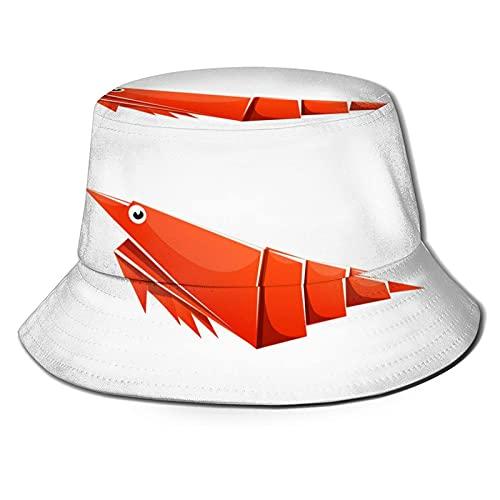 Bokueay Sombrero de Cubo de camarones de Origami, Sombrero de Sol Plegable, Sombrero de Pescador al Aire Libre para Mujeres y Hombres