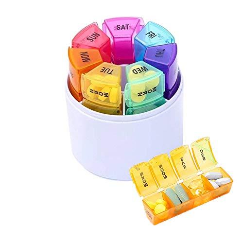 QQZQQ Pill Organizer 4 Times a Day Medication Travel Case 7 Days 28 Grids Pill Box Case Organizerd by Week Prescription and Medication Pill Box Reminder, Arthritis Friendly, Rainbow