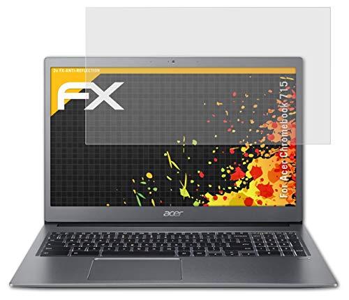 atFolix Panzerfolie kompatibel mit Acer Chromebook 715 Schutzfolie, entspiegelnde & stoßdämpfende FX Folie (2X)