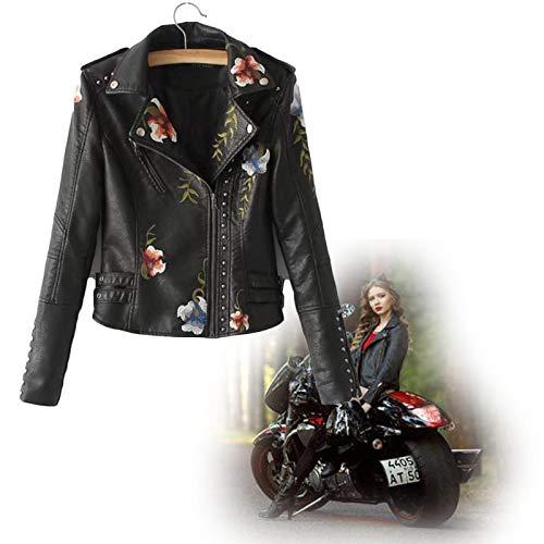 Kunstlederjacke Damen Blumen Bestickt Jacke mit Reißverschluss,Motorradjacke Bikerjacke Übergangsjacke Oberbekleidung,Women's Floral Embroidered Faux Leather Moto Jacket XL Schwarz