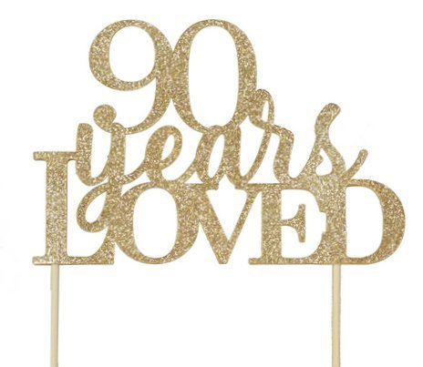 All About Details Gold 90-Years-Loved Cake Topper