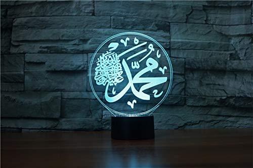 3D muslime allah islam Optische Illusions-Lampen, Tolle 7 Farbwechsel Acryl berühren Tabelle Schreibtisch-Nachtlicht mit USB-Kabel für Kinder Schlafzimmer Geburtstagsgeschenke Geschenk
