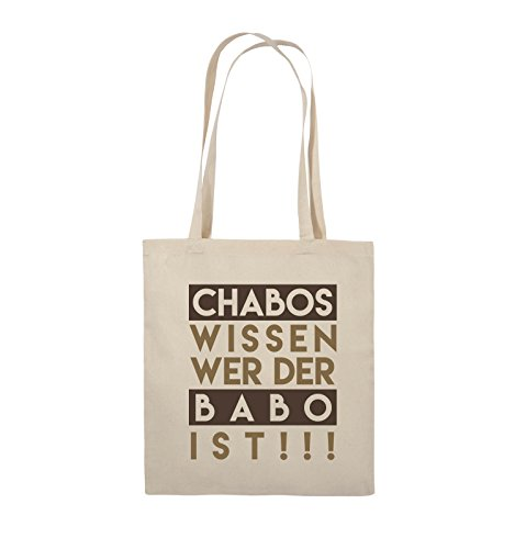 Comedy Bags - Chabos wissen wer der BABO ist! - Jutebeutel - Lange Henkel - 38x42cm - Farbe: Natural/Hellbraun-Dunkelbraun