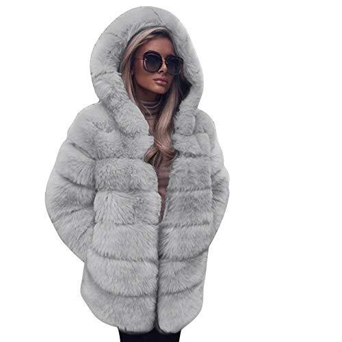 TUDUZ Damen Luxus Faux Pelzmantel mit Kapuze Herbst Winter warmen Mantel Kapuzenjacke