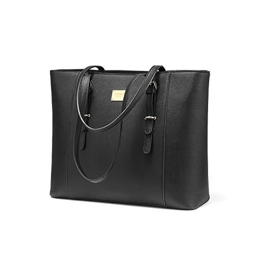 LOVEVOOK Laptop Handtasche Damen Groß, Schwarz Elegant Business 15.6 Zoll Laptoptasche Aktentasche Arbeitstasche, Wasserdicht Shopper PU Leder