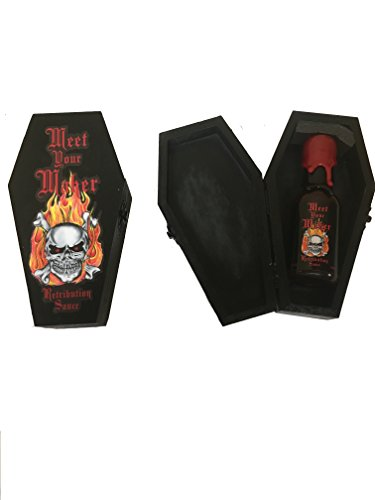 Meet Your Maker Retribution Hot Sauce with Wooden Coffin. Super Hot 5 Million Scoville Ghost Pepper Extract Sauce