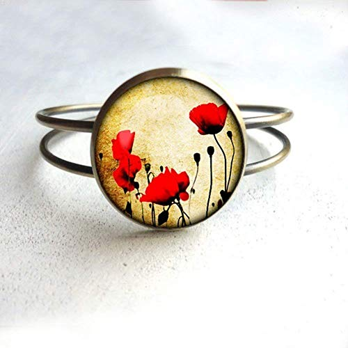 Regalos para amapolas flores rojas pulsera de amapolas plata pulsera para hombres para ella para él