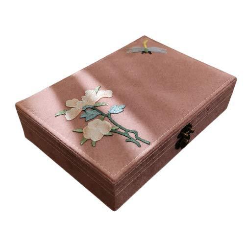 Cajas de joyería retro literaria de estilo chino con caja de joyería con cerradura para anillos, pendientes con línea de separación desmontable, se utiliza para collares, anillos, pulseras y relojes.